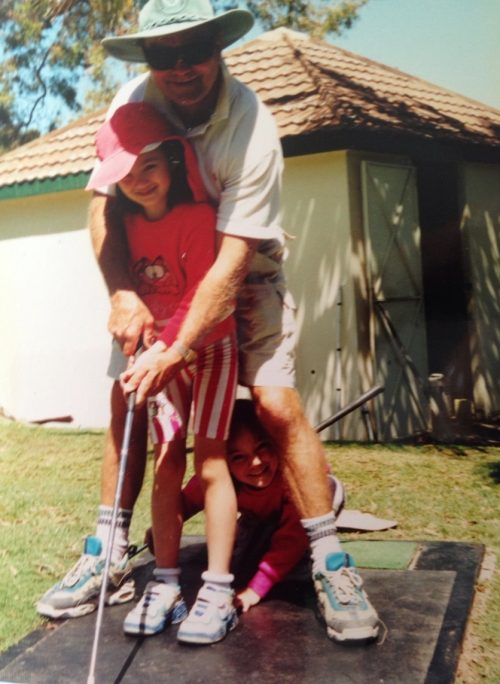 My dad, sister and I playing golf in the 90s.